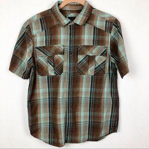 Prana Breathe Plaid,Short Sleeve, Snap Up Shirt S